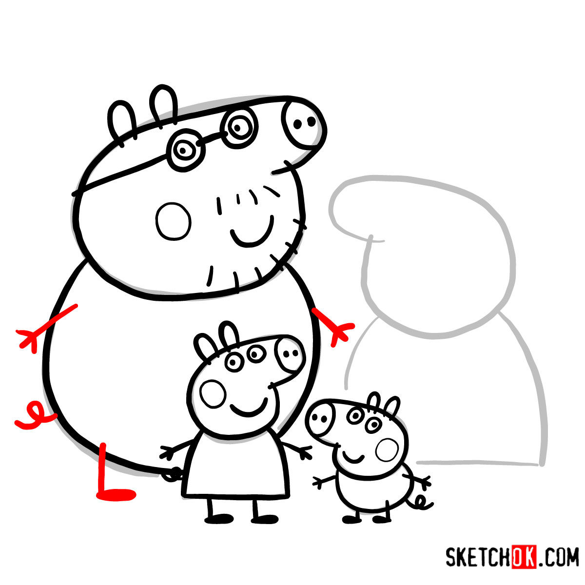 How to draw Peppa Pig's family - step 16