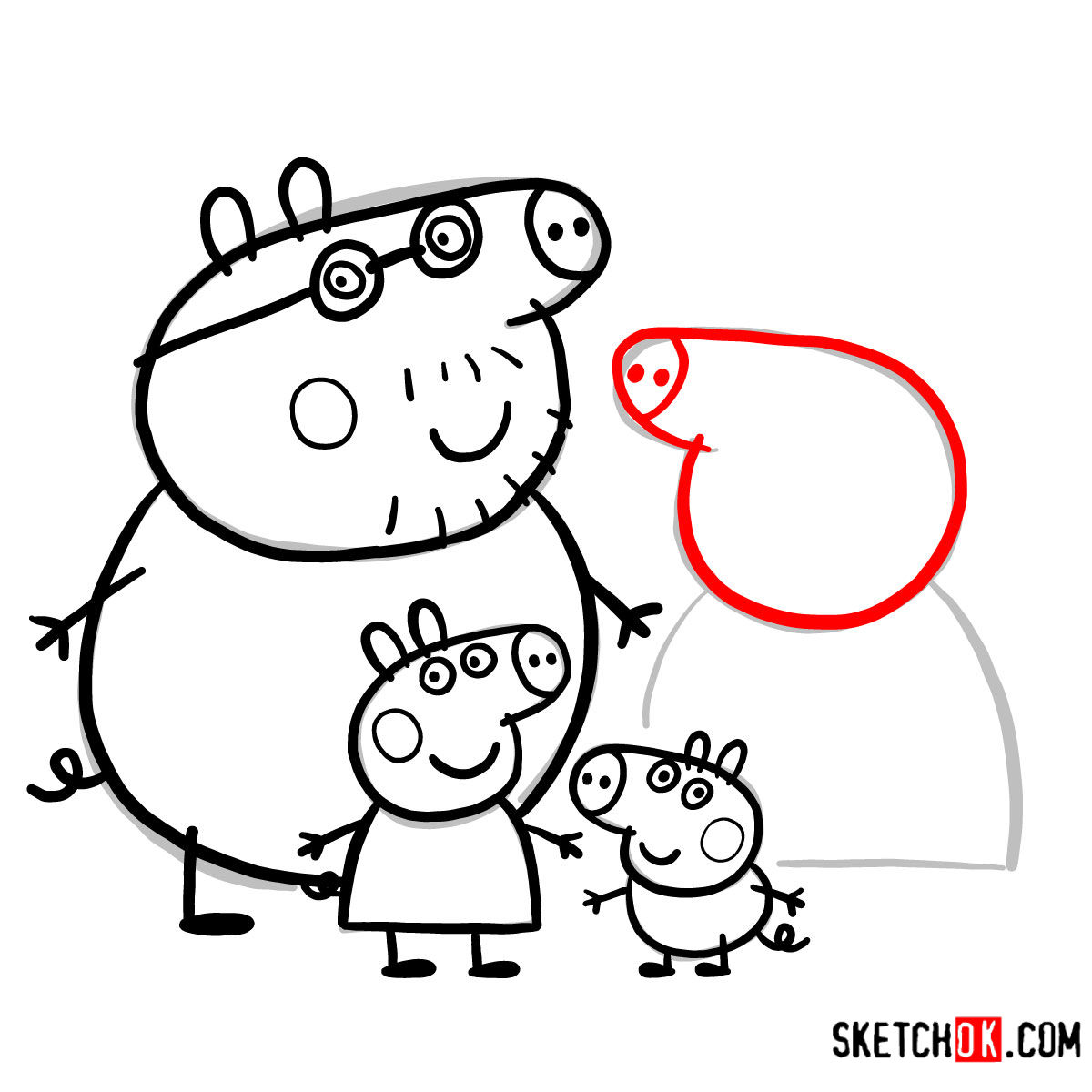 How to draw Peppa Pig's family - step 17