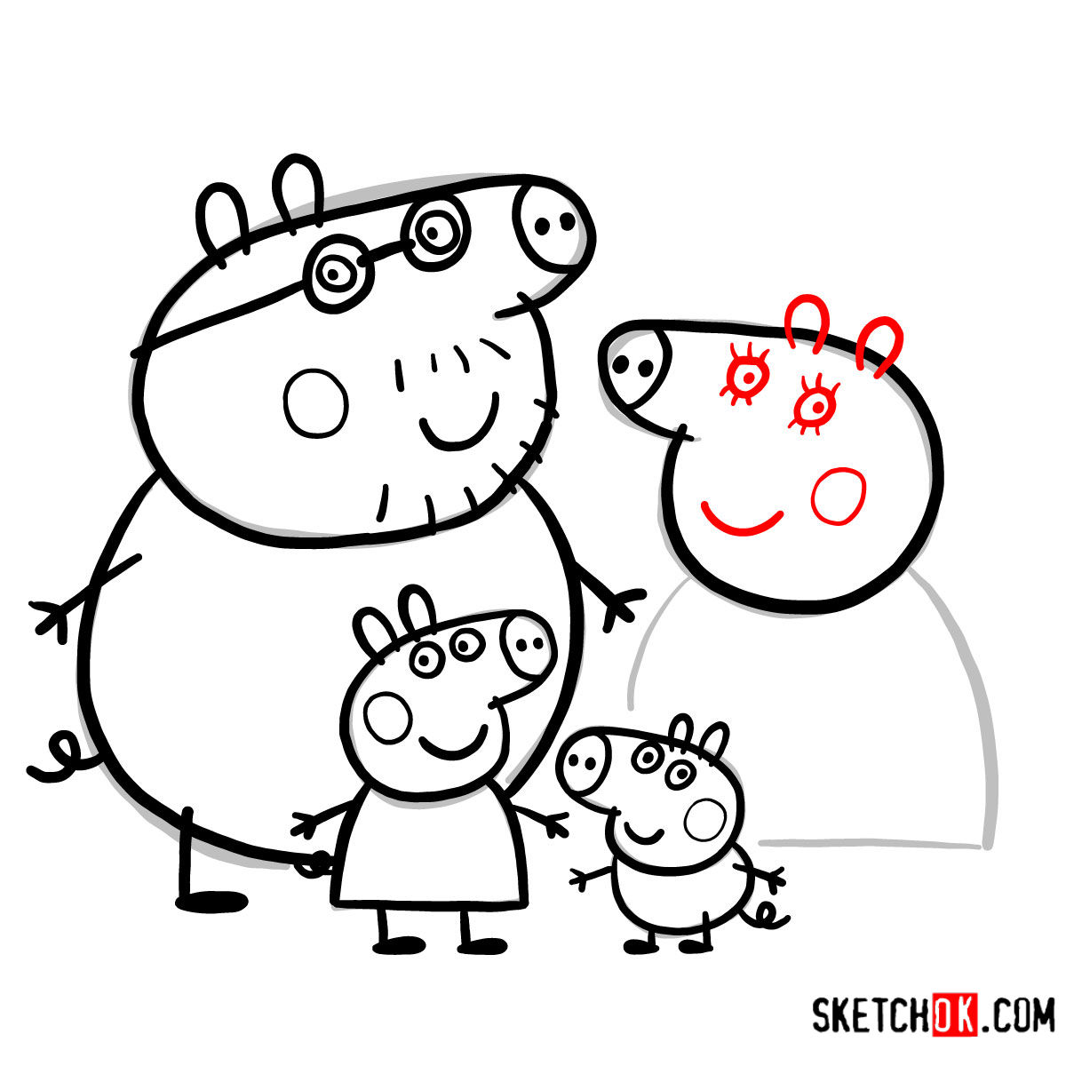 How to draw Peppa Pig's family - step 18