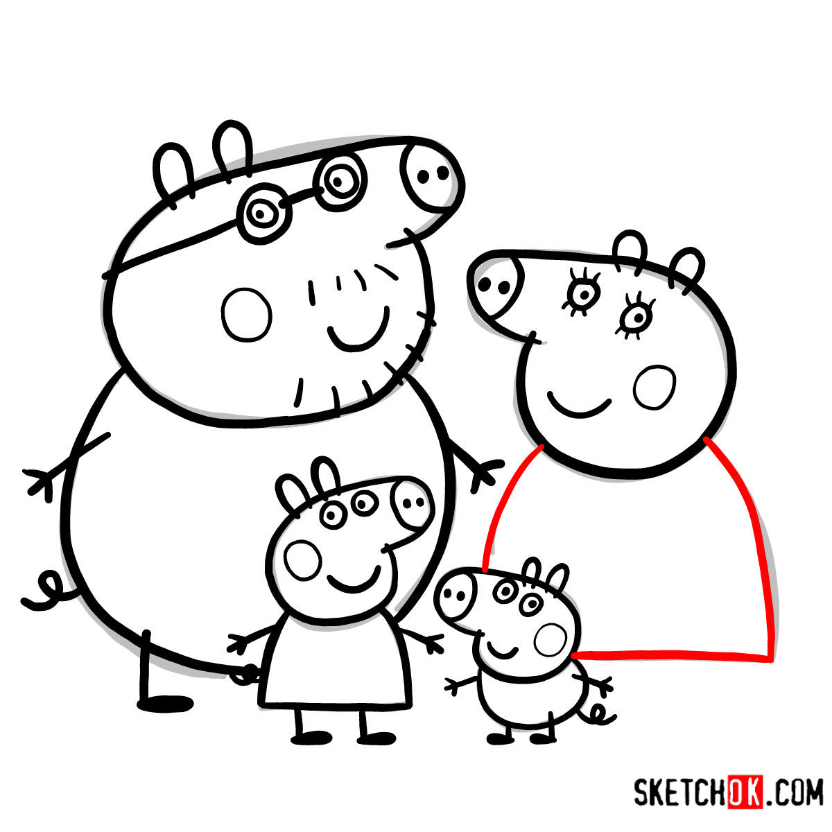How to draw Peppa Pig's family - step 19