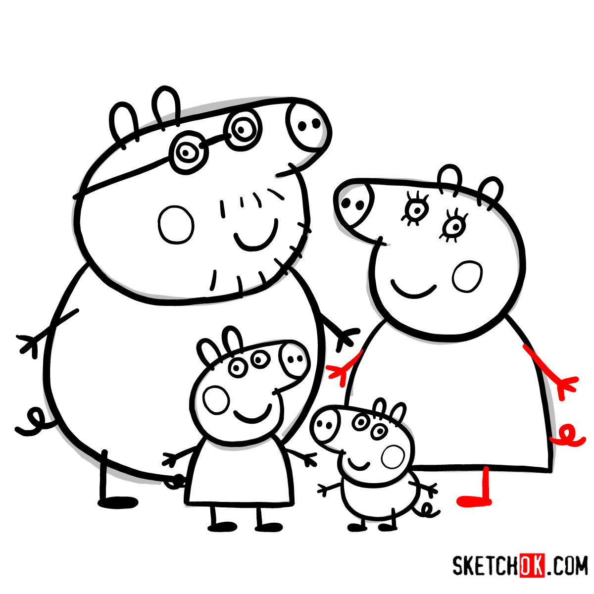 How to draw Peppa Pig's family - step 20