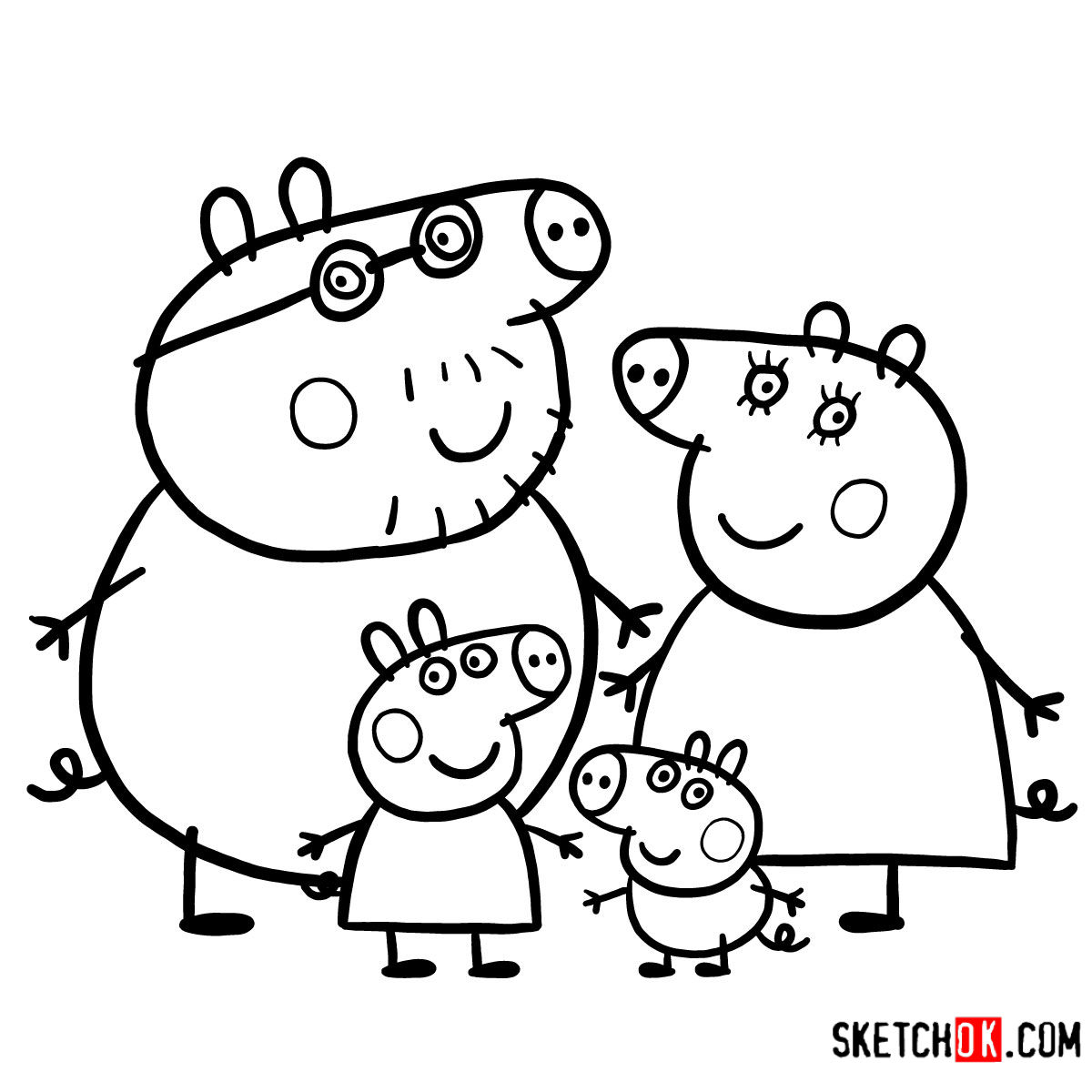 How to draw Peppa Pig's family