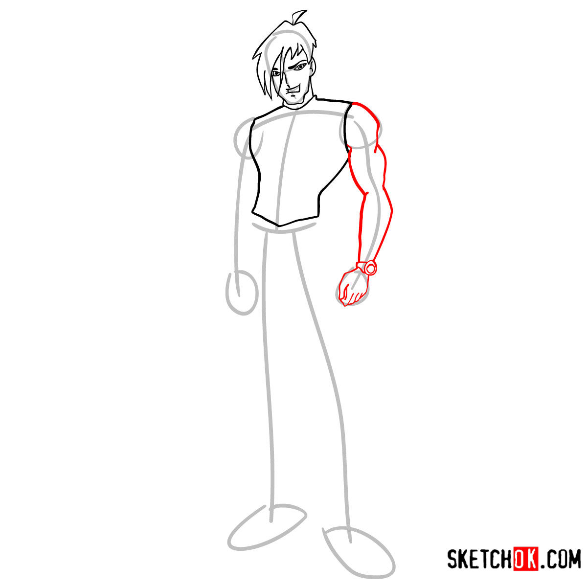 How to draw Brandon from Winx -  step 06