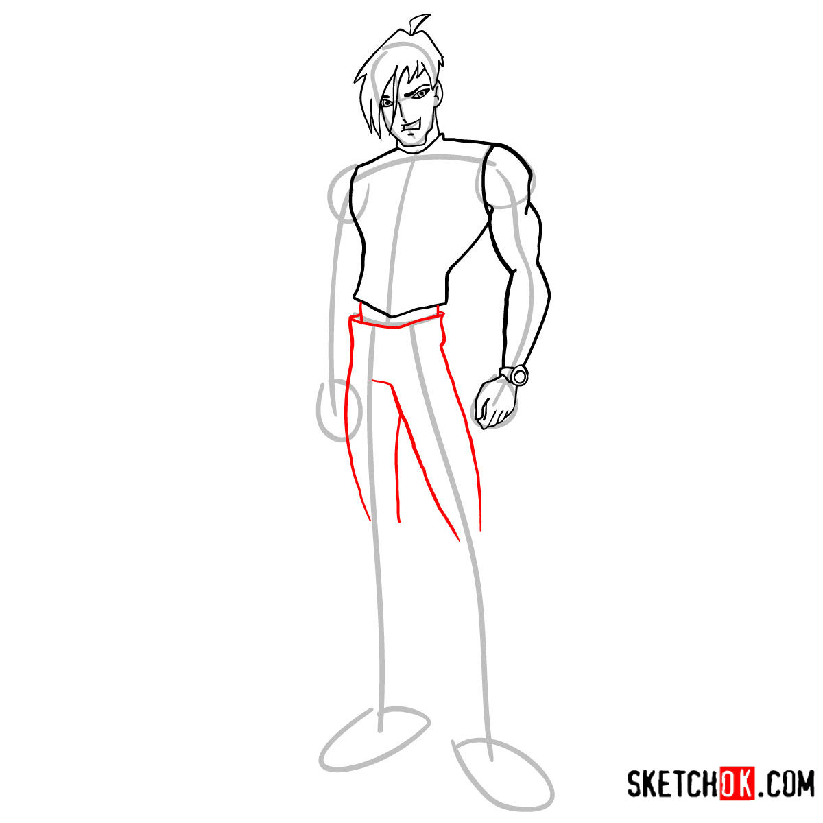 How to draw Brandon from Winx - step 07