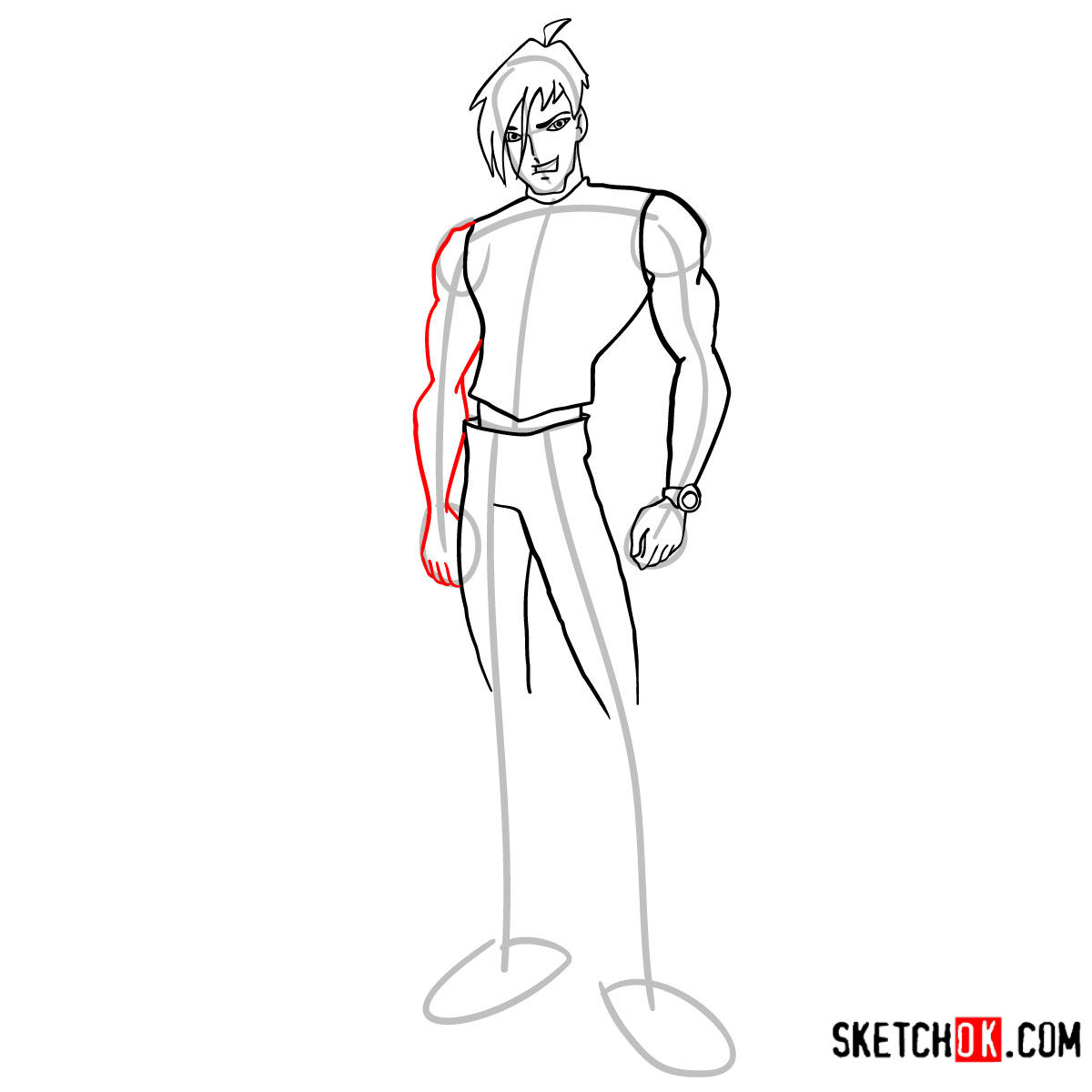 How to draw Brandon from Winx - step 08