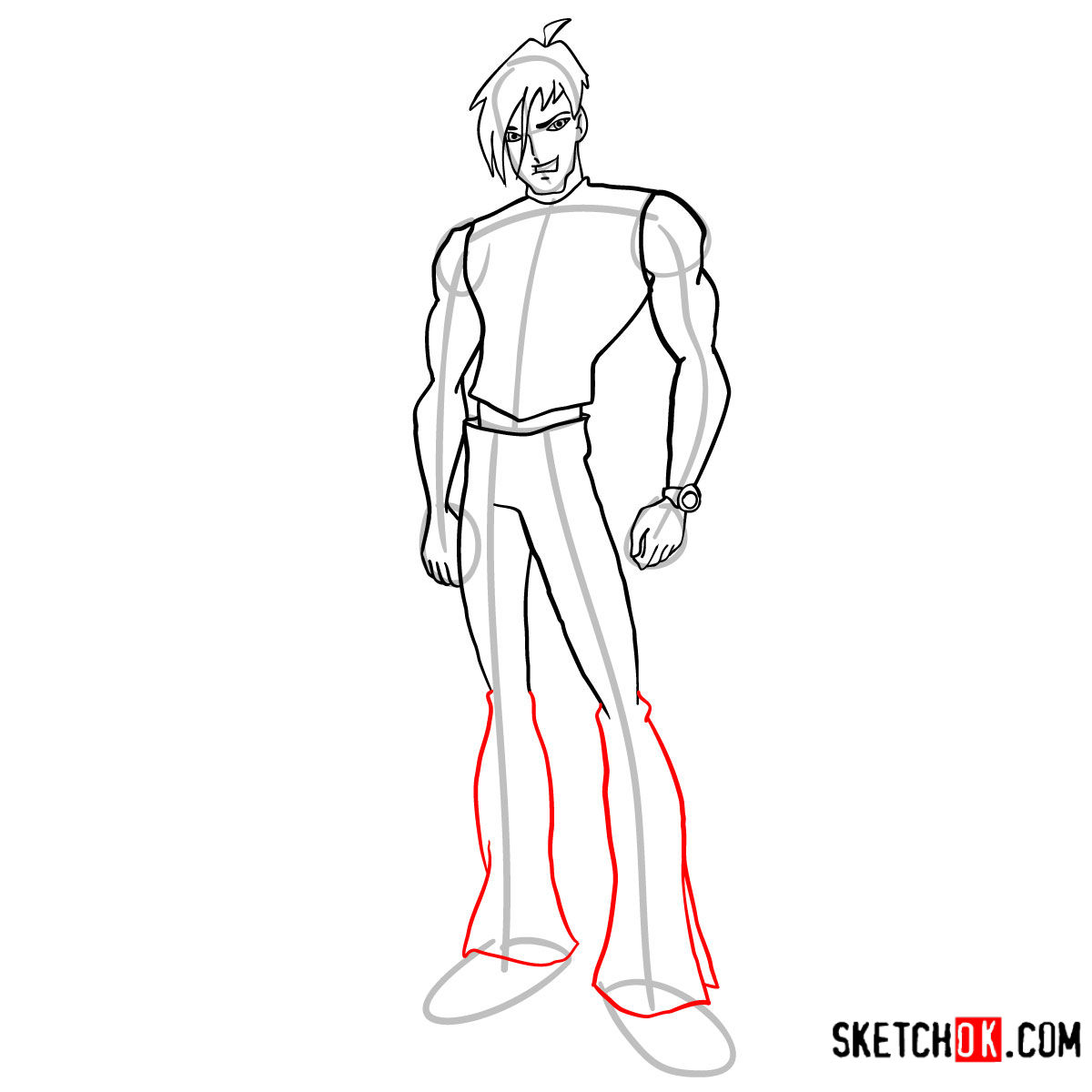 How to draw Brandon from Winx - step 09
