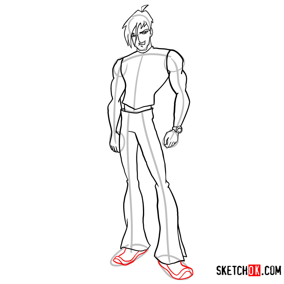How to draw Brandon from Winx - step 10