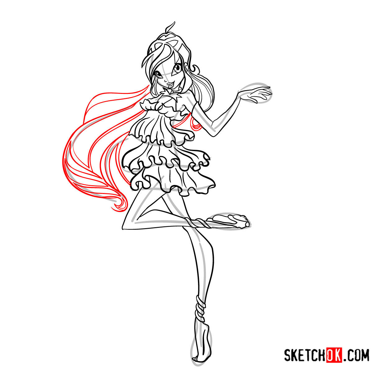 How to draw Bloom Enchantix from Winx - step 12