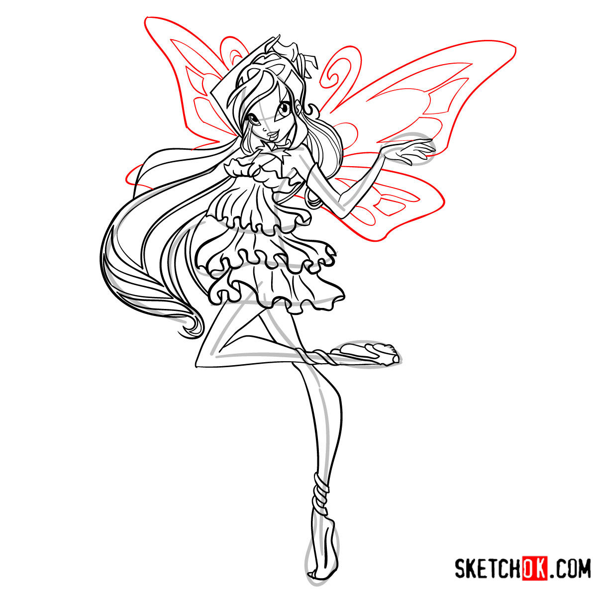 How to draw Bloom Enchantix from Winx - step 14