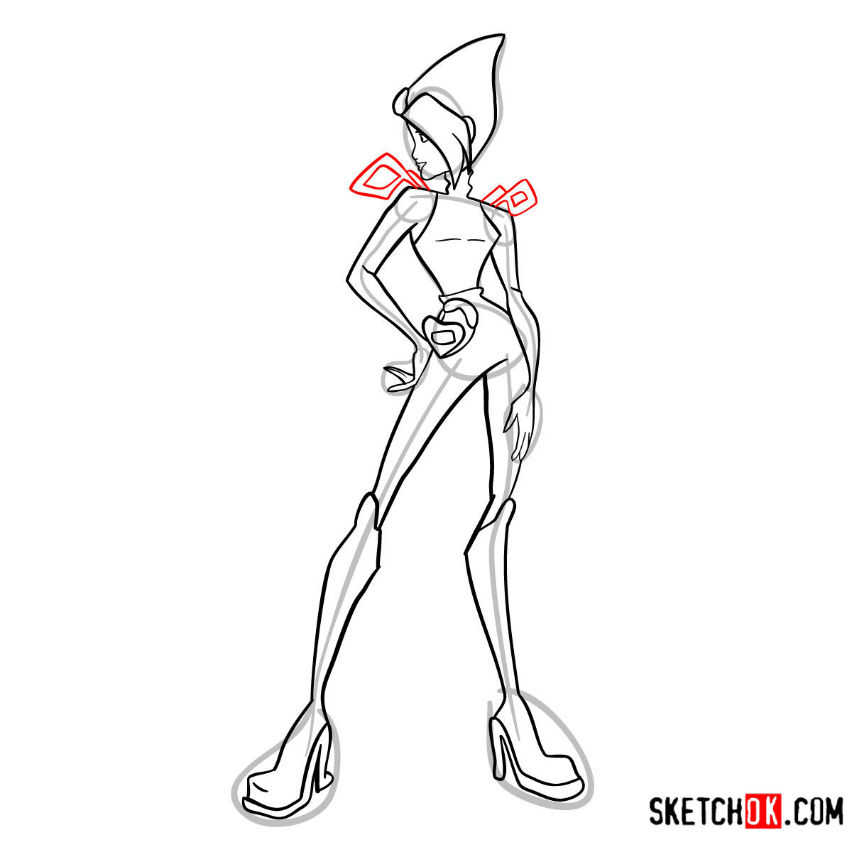 How to draw Tecna Charmix from Winx - step 12