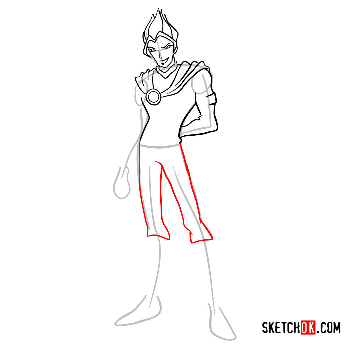 How to draw Riven from Winx - step 07