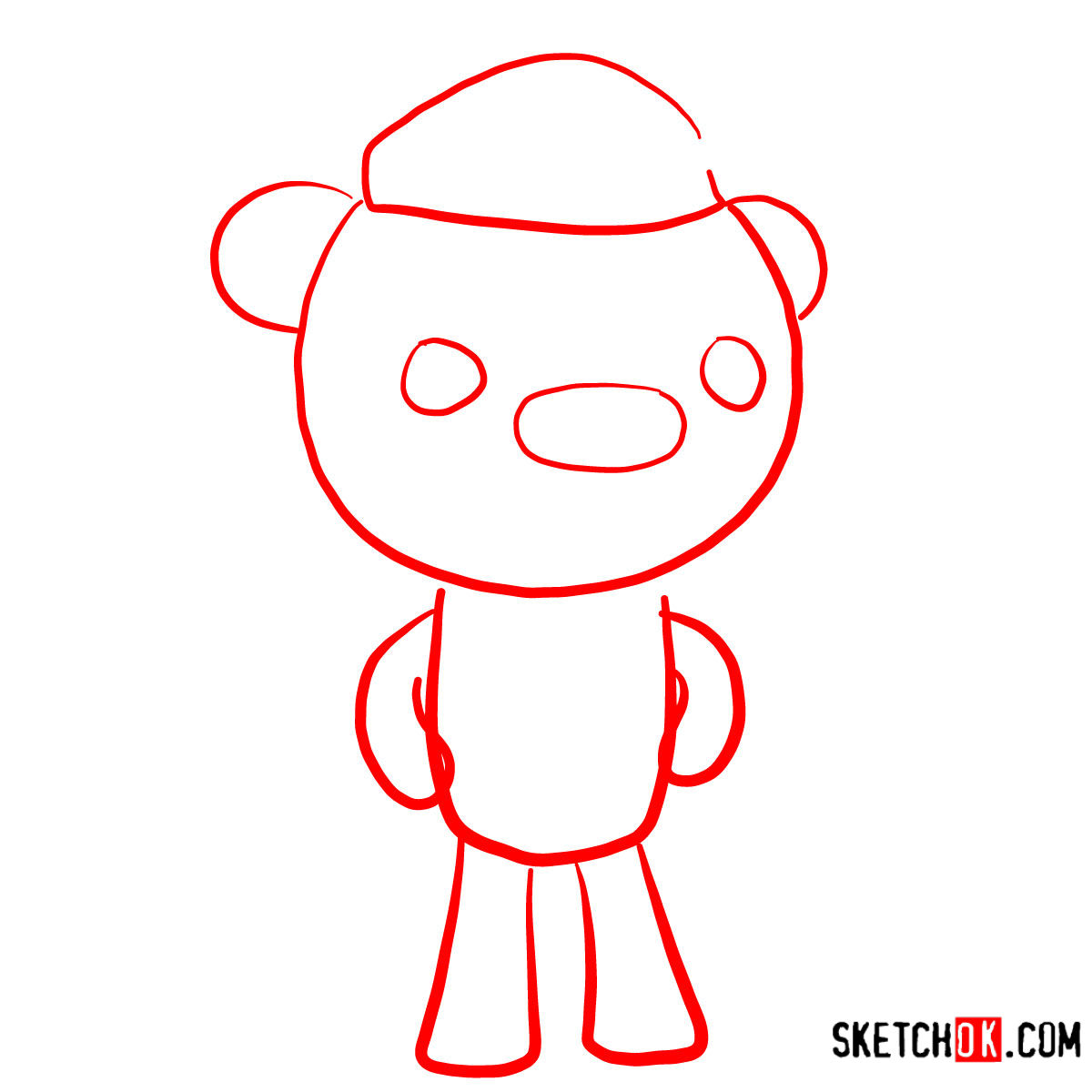 How to draw Barnacles Bear   Octonauts - step 01