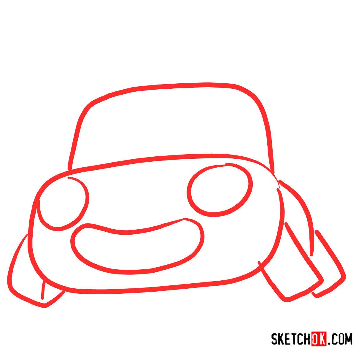 How to draw Tu-Tu the car | Pororo - step 01