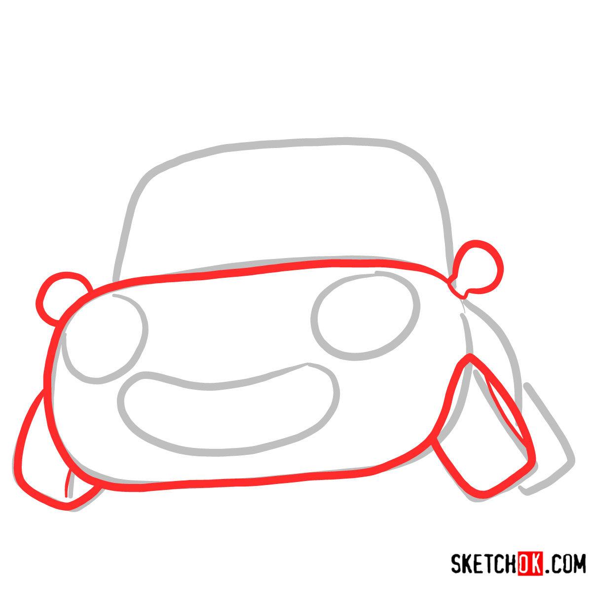 How to draw Tu-Tu the car | Pororo - step 02