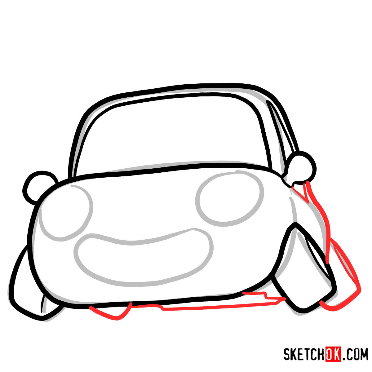 How to draw Tu-Tu the car | Pororo - step 04