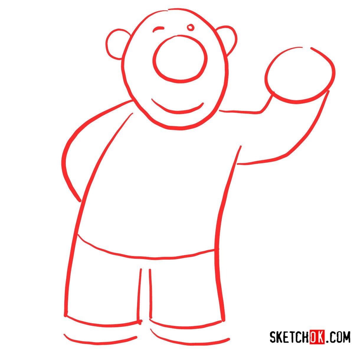 How to draw Poby the polar bear | Pororo - step 01