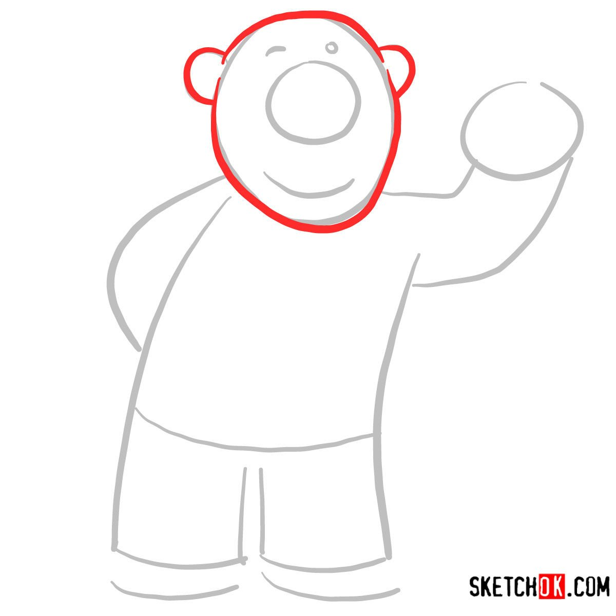 How to draw Poby the polar bear | Pororo - step 02