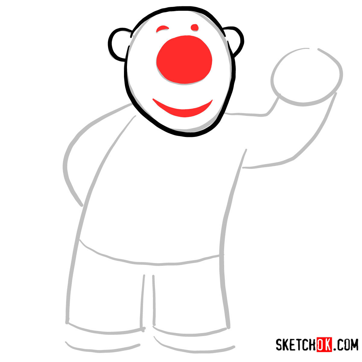 How to draw Poby the polar bear | Pororo - step 03