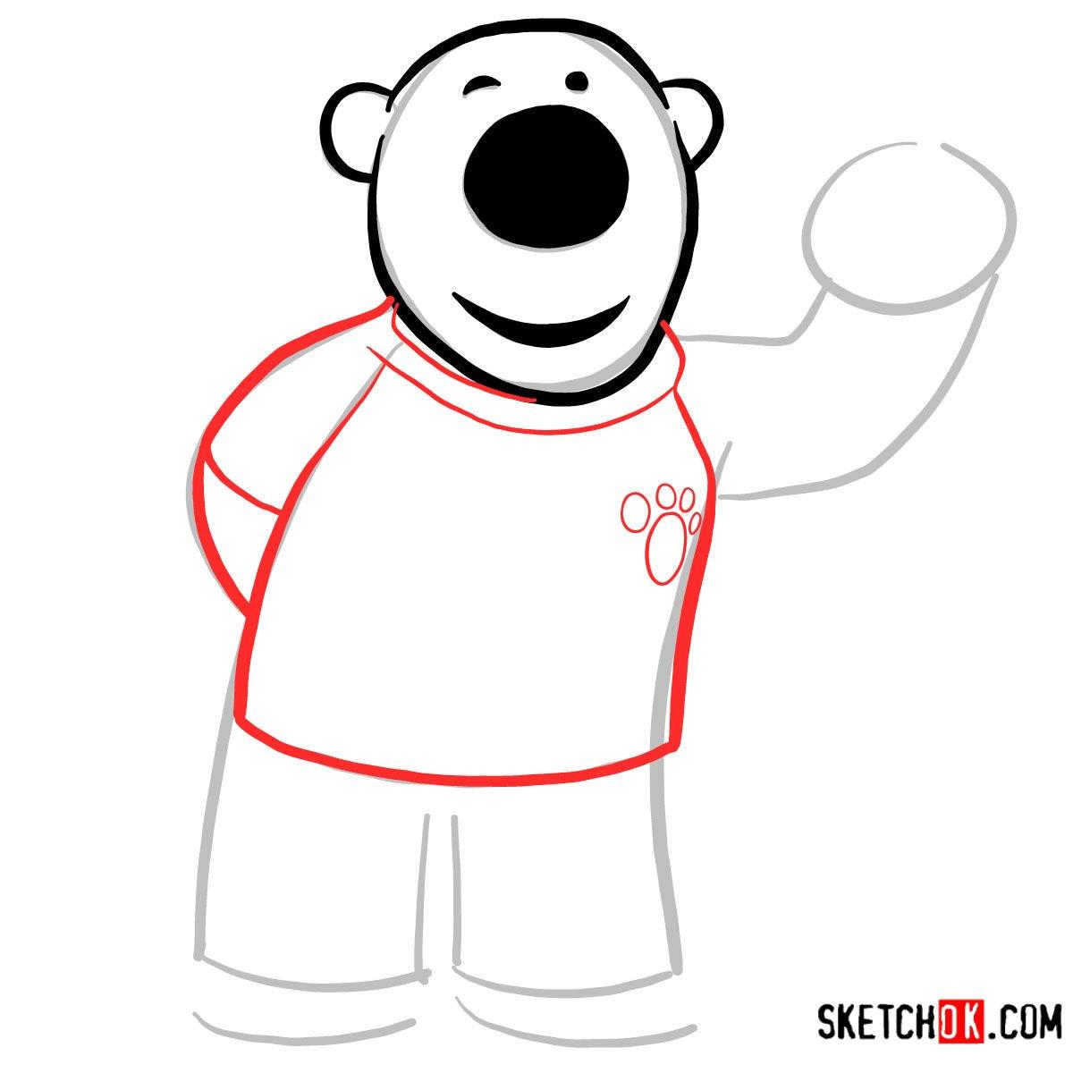 How to draw Poby the polar bear | Pororo - step 04