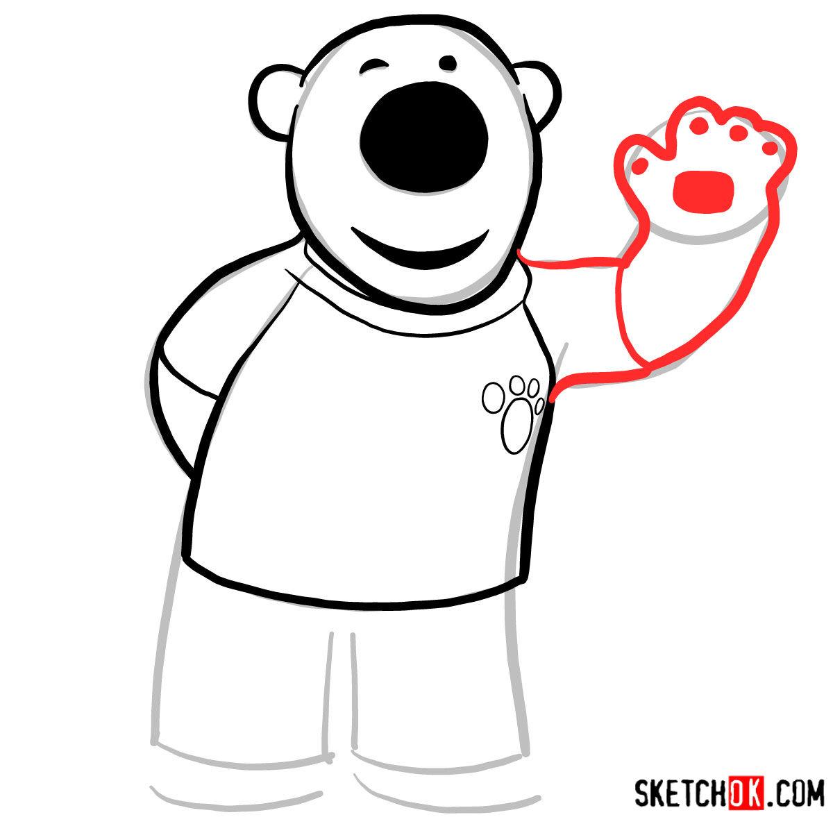 How to draw Poby the polar bear | Pororo - step 05