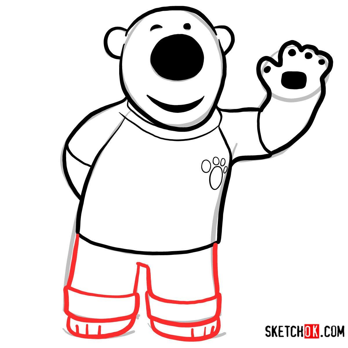 How to draw Poby the polar bear | Pororo -  step 06