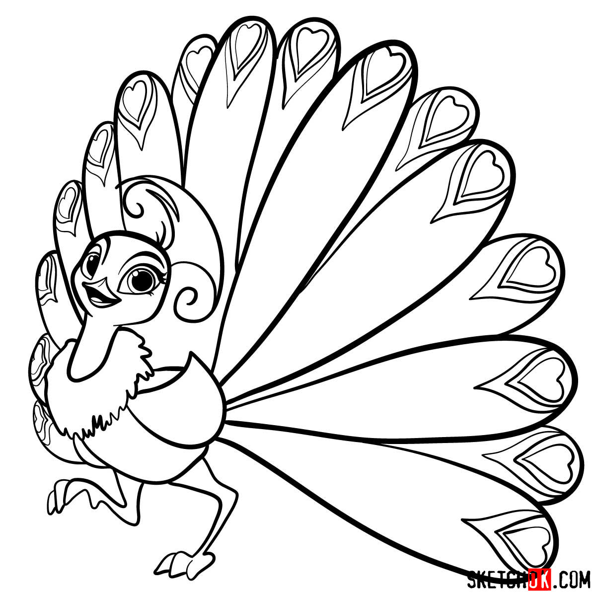 How to draw Roya the peacock from Shimmer and Shine