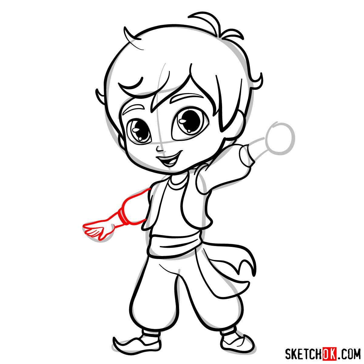 How to draw Zac from Shimmer and Shine - step 11