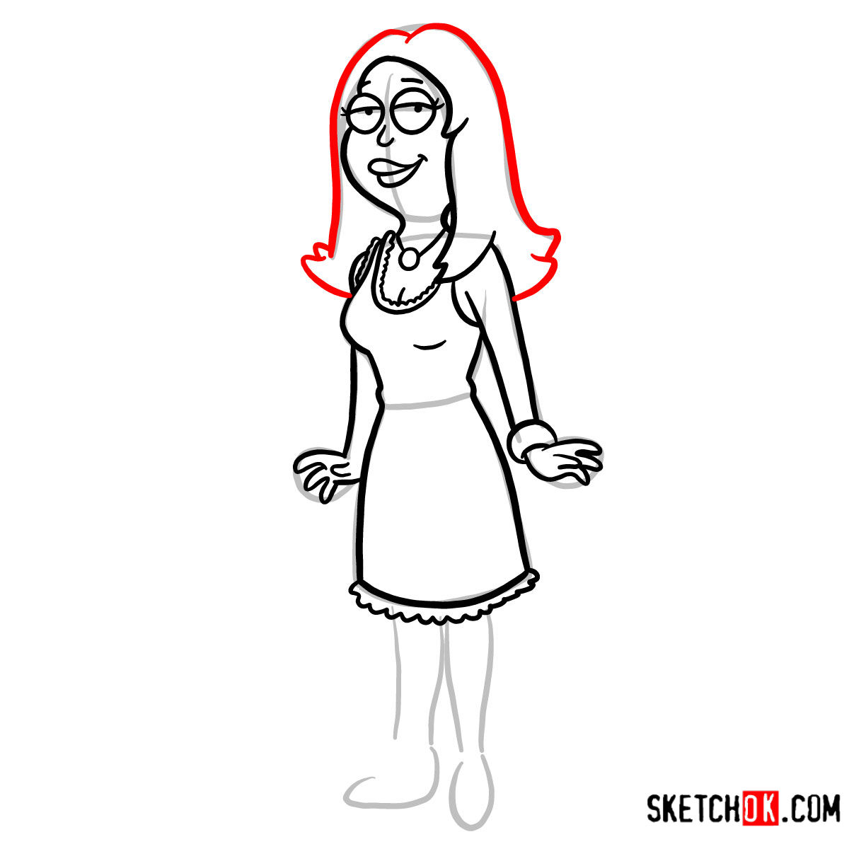 How to draw Francine Smith | American Dad - step 08