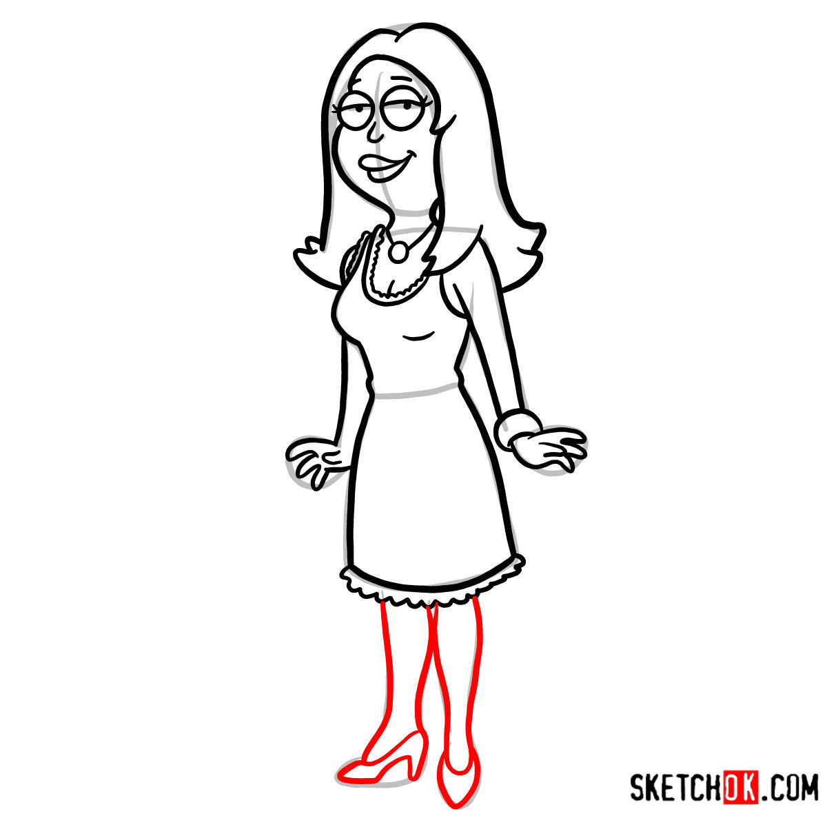 How to draw Francine Smith | American Dad - step 09