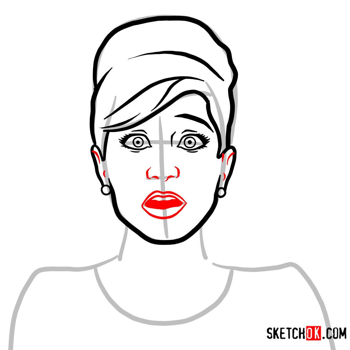 How to draw Cheryl Tunt | Archer - step 05