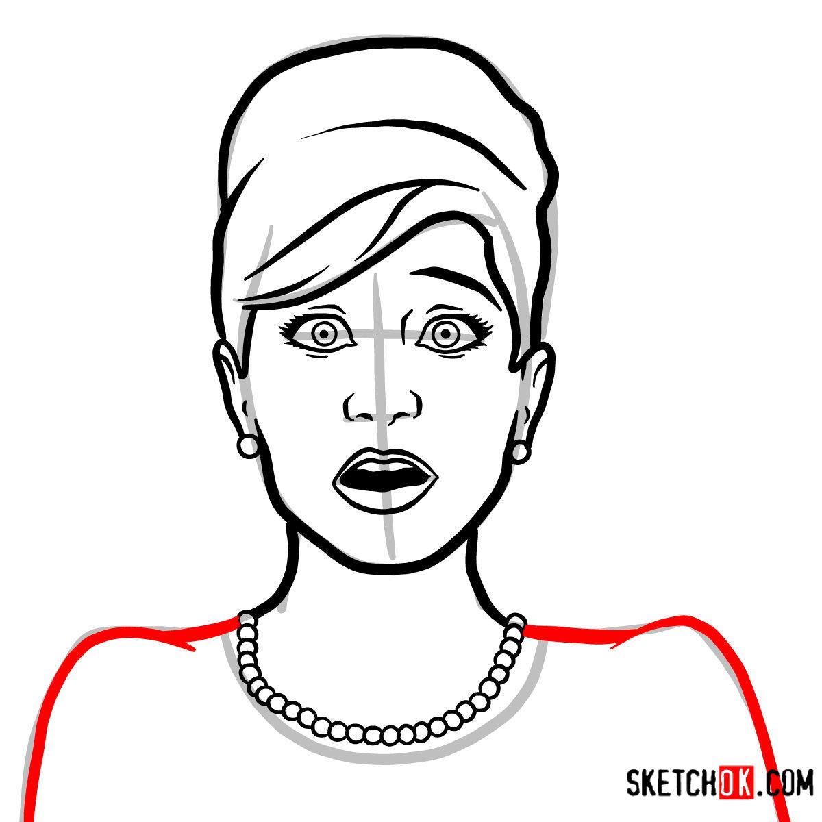 How to draw Cheryl Tunt | Archer - step 07