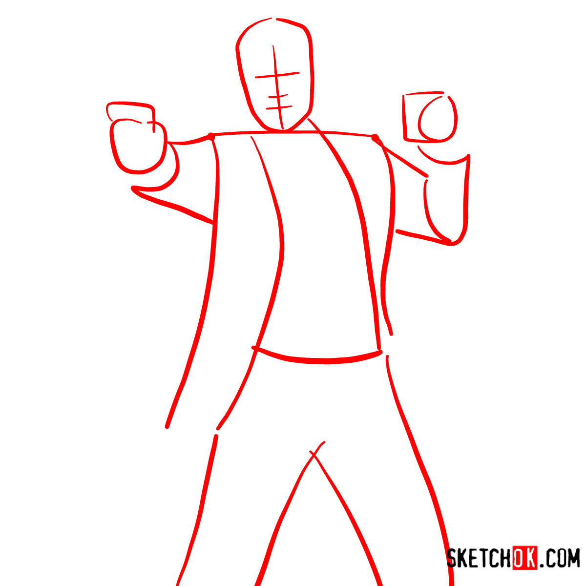 How to draw Sterling Archer with a pistol - step 01