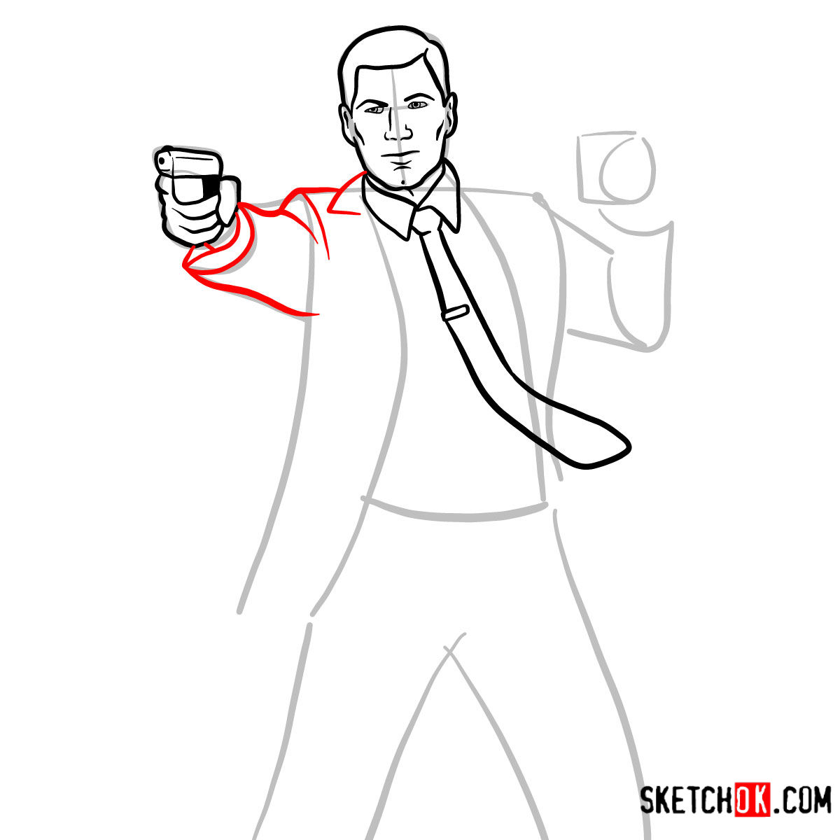 How to draw Sterling Archer with a pistol -  step 06