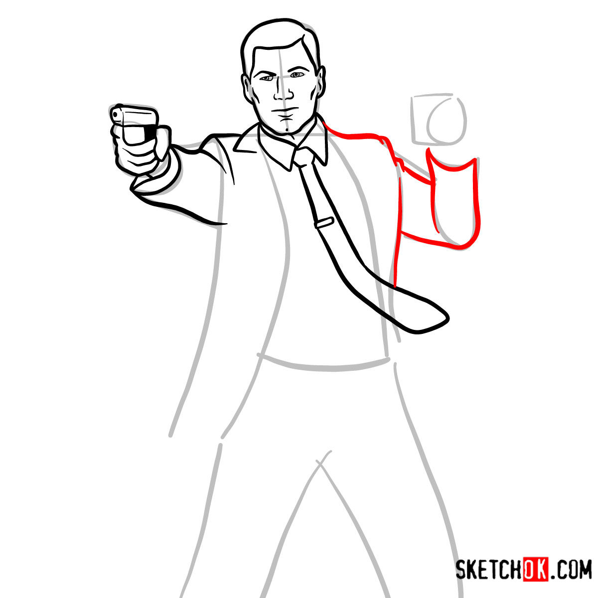 How to draw Sterling Archer with a pistol - step 07