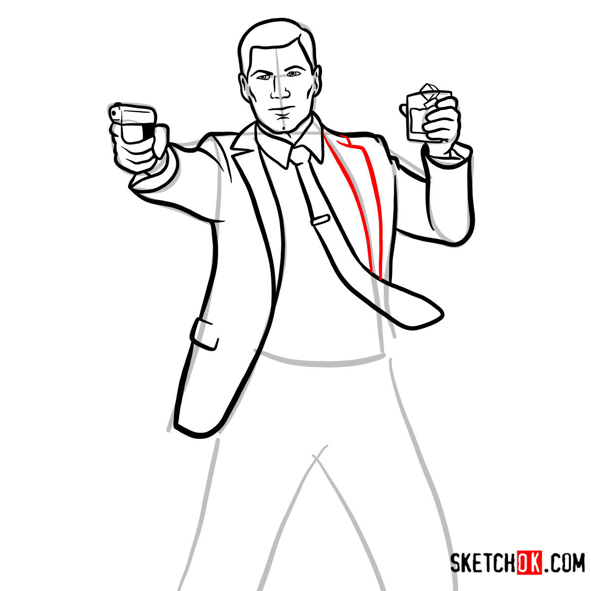 How to draw Sterling Archer with a pistol - step 10