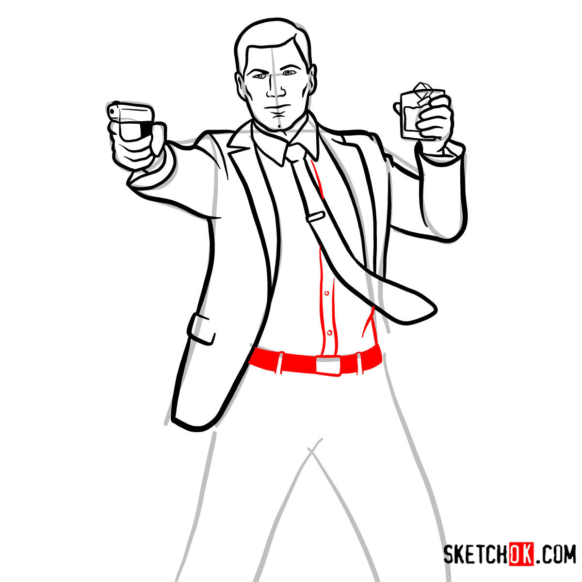 How to draw Sterling Archer with a pistol - step 11