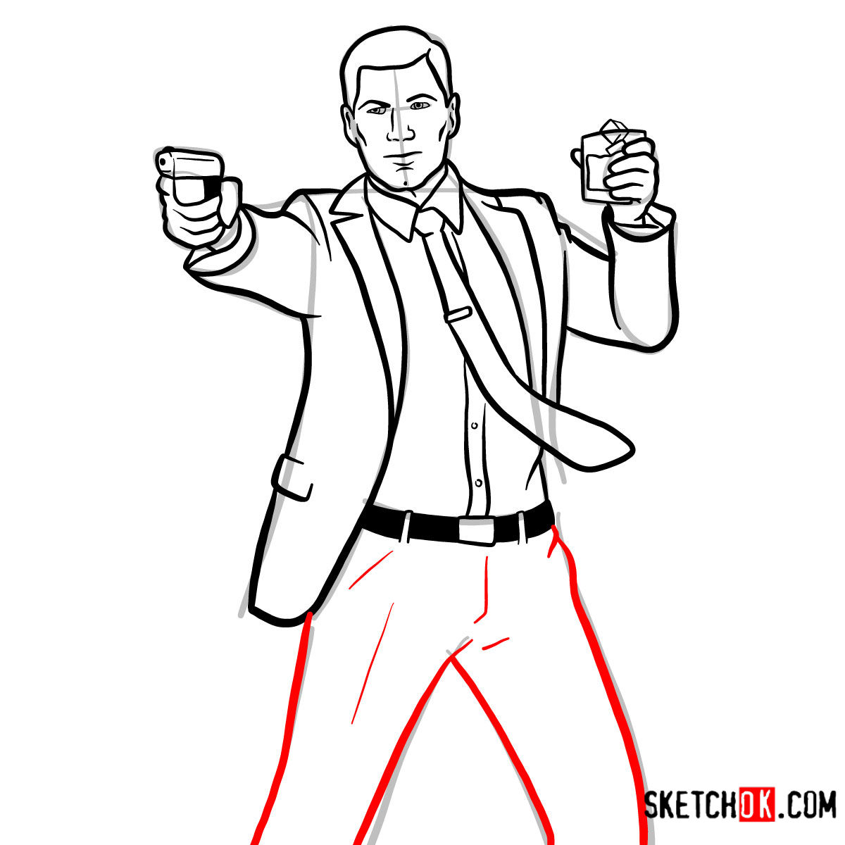 How to draw Sterling Archer with a pistol - step 12