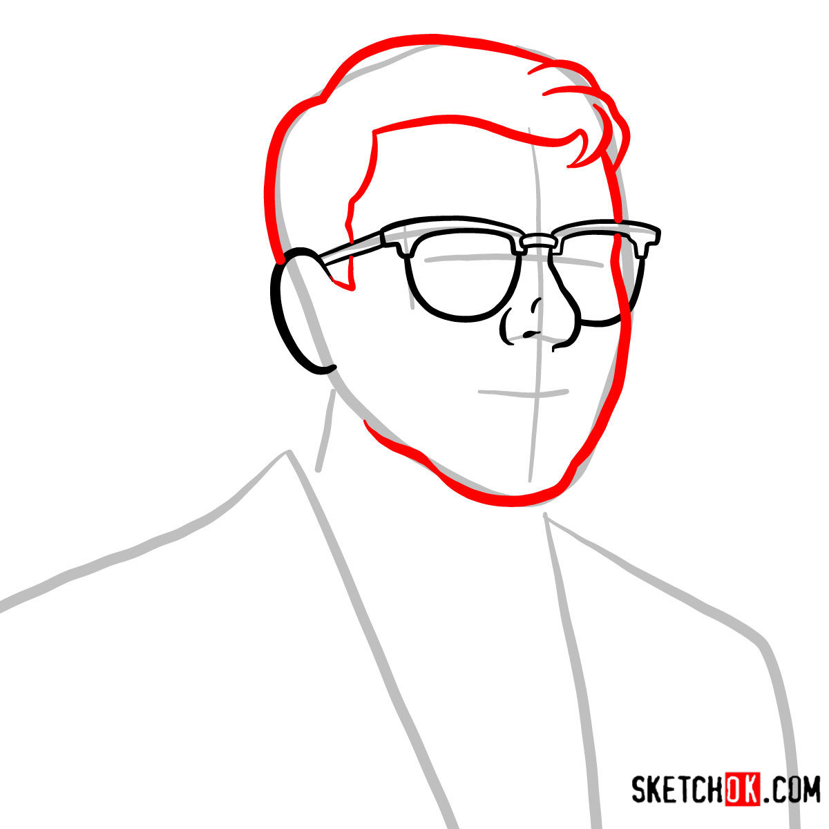 How to draw Cyril Figgis | Archer - step 03