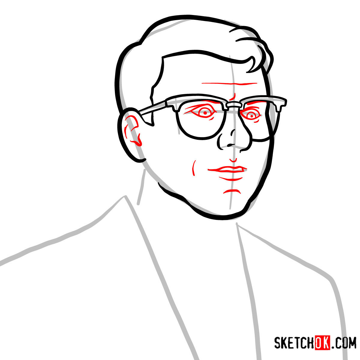 How to draw Cyril Figgis | Archer - step 04