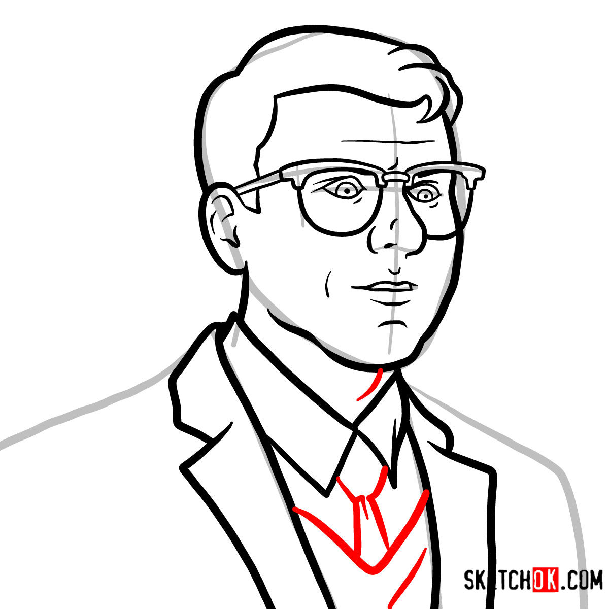 How to draw Cyril Figgis | Archer - step 06