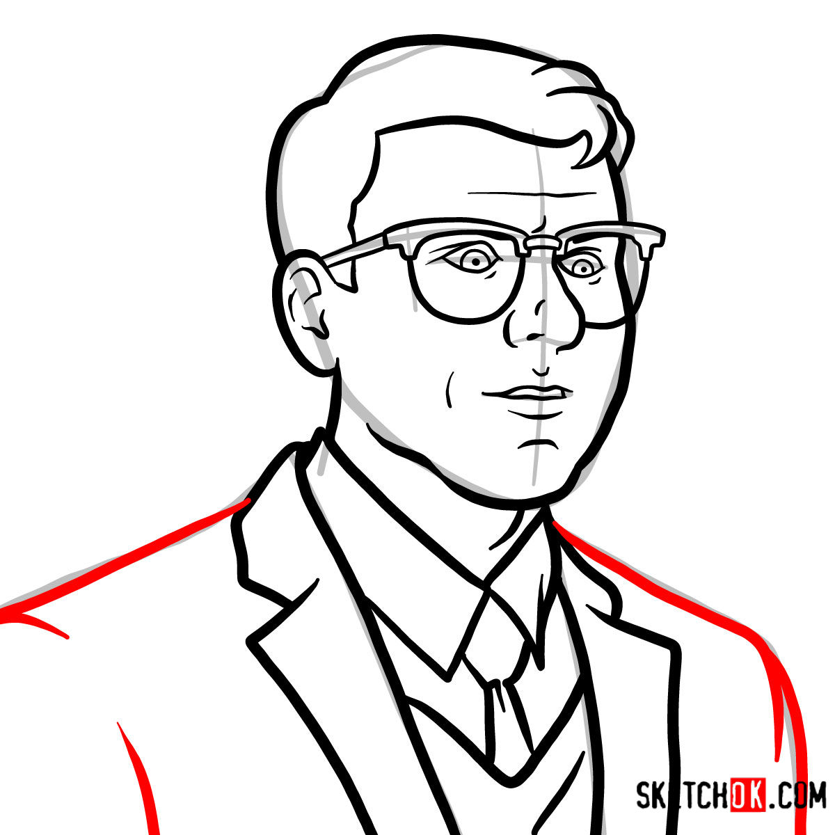 How to draw Cyril Figgis | Archer - step 07