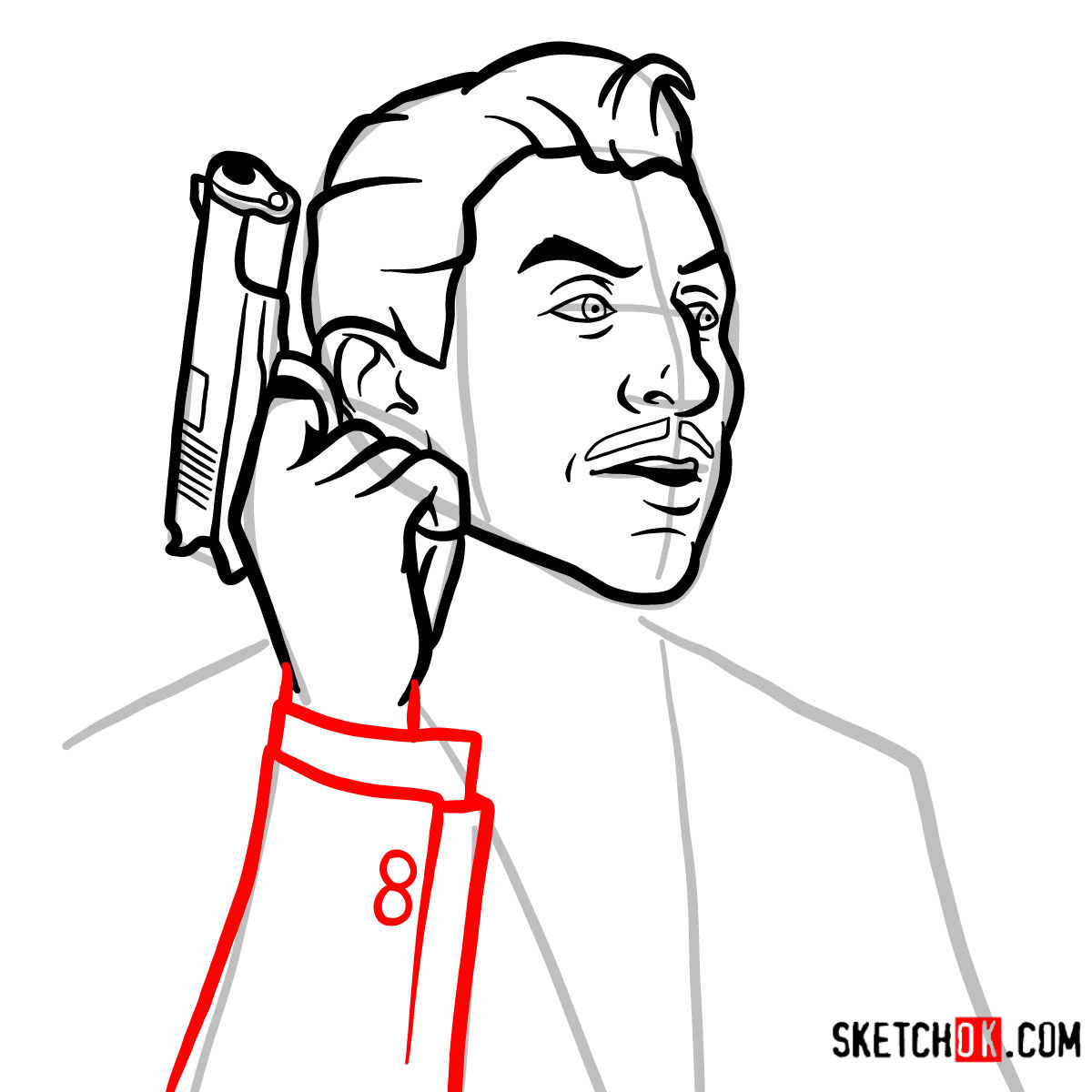 How to draw Ray Gillette | Archer - step 08