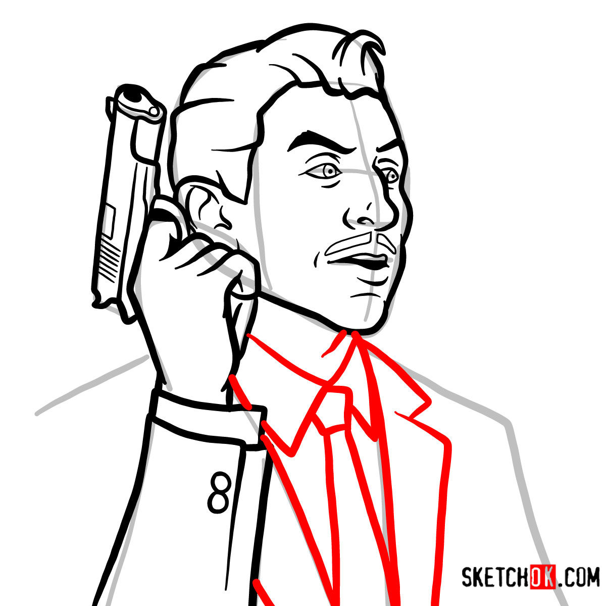 How to draw Ray Gillette | Archer - step 09