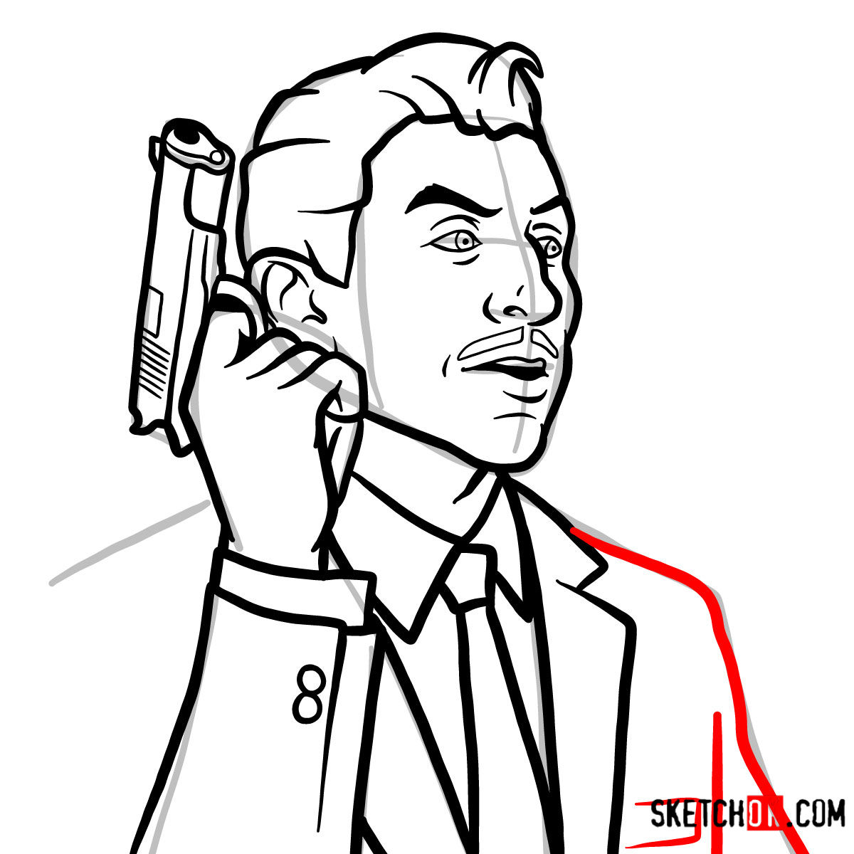 How to draw Ray Gillette | Archer - step 10