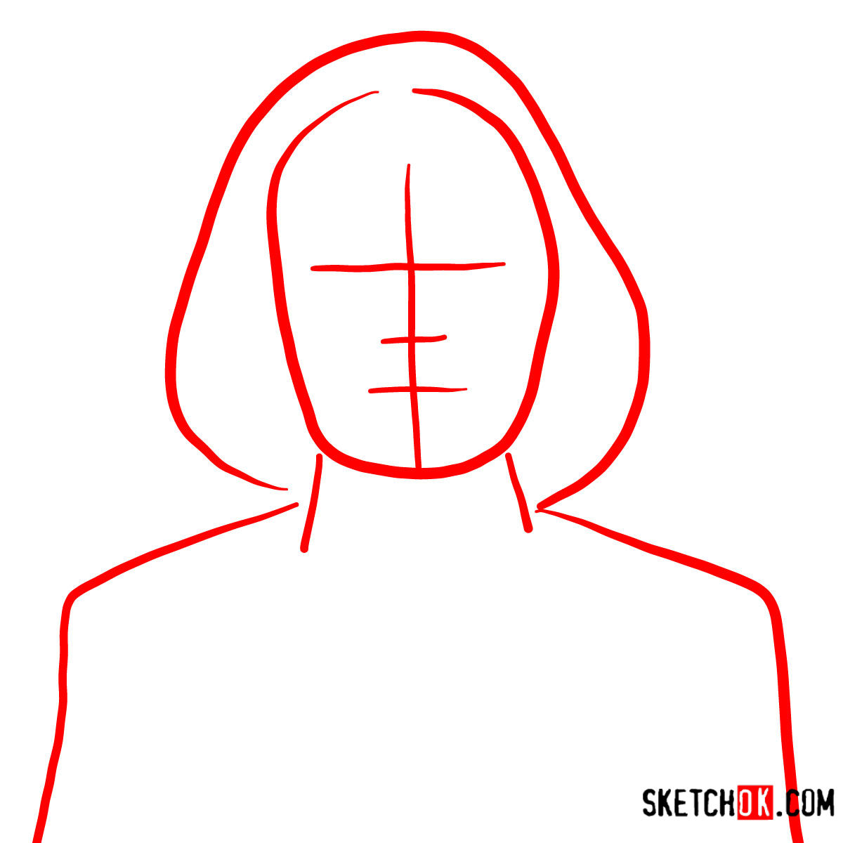How to draw Malory Archer - step 01