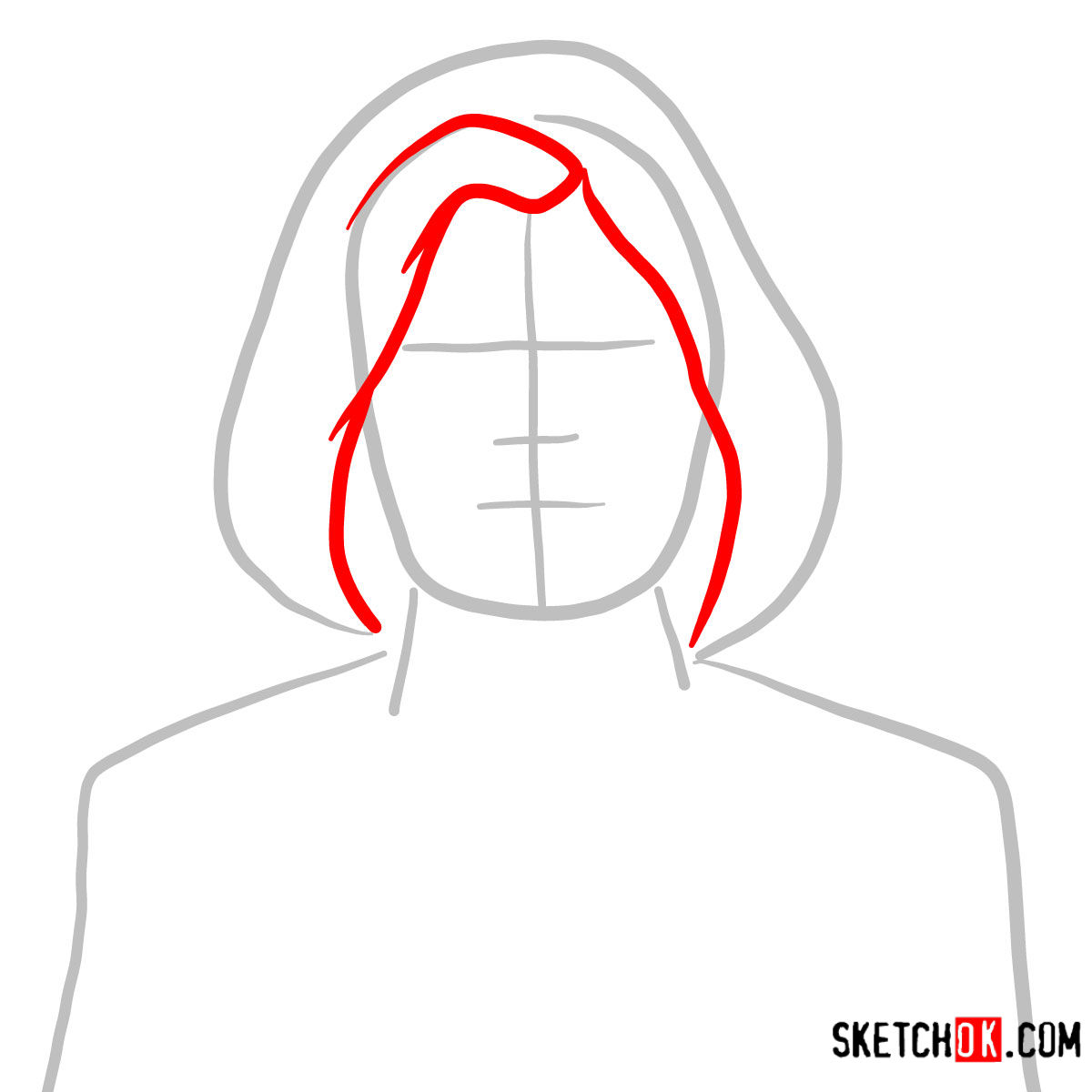 How to draw Malory Archer - step 02