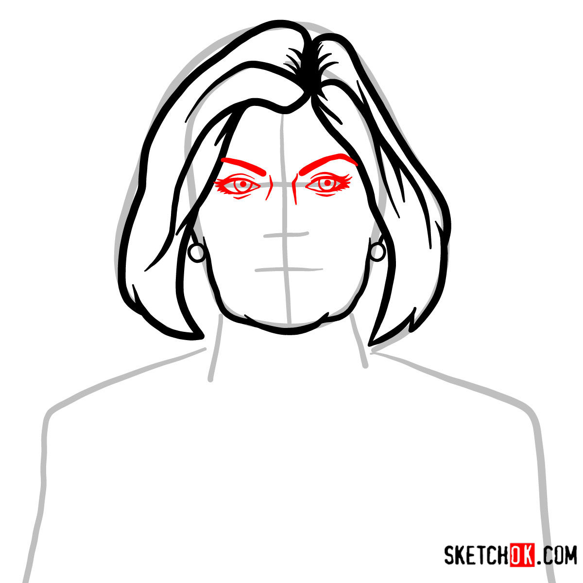 How to draw Malory Archer - step 05