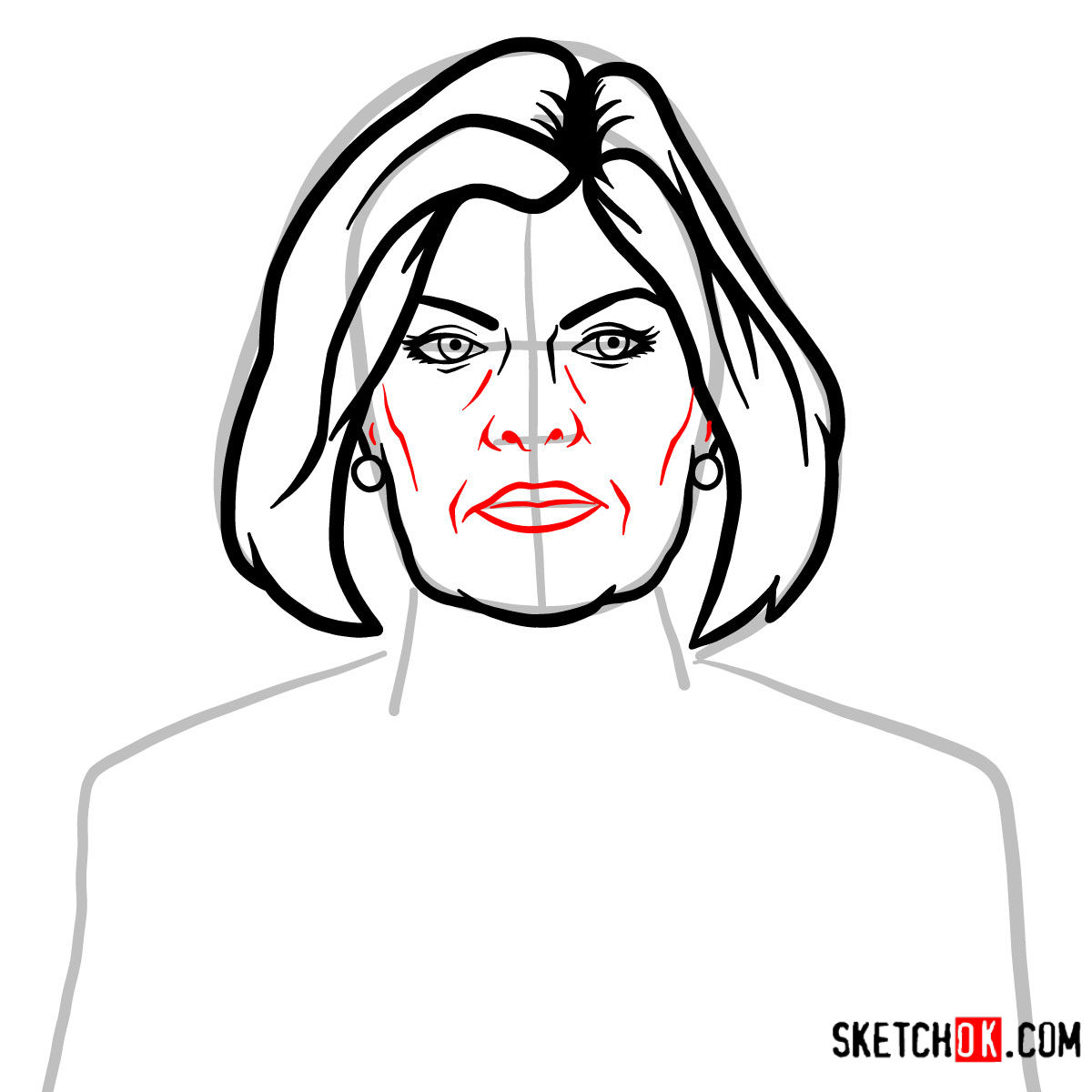How to draw Malory Archer -  step 06