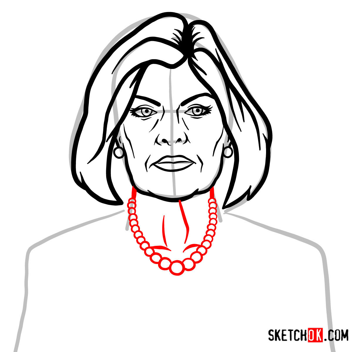 How to draw Malory Archer - step 07