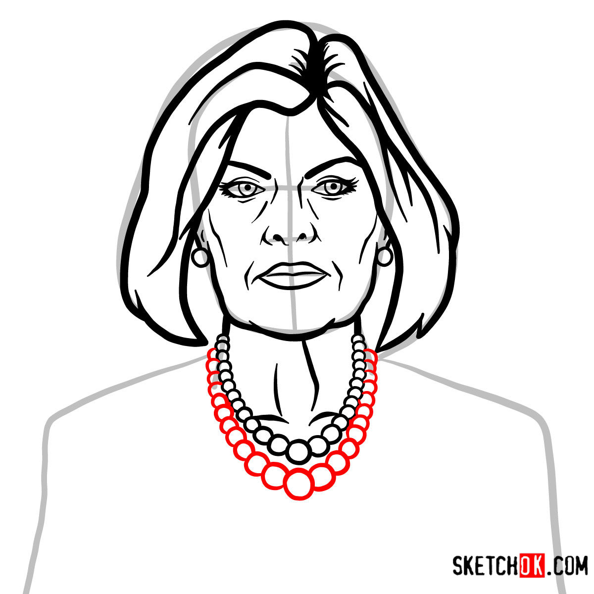 How to draw Malory Archer - step 08